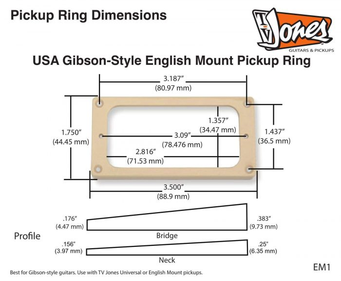 Ring – USA Gibson-Style (EM1) With Screws Tall in CREAM